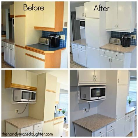 painting melamine kitchen cabinets before and after 80s kitchen update reveal the handyman s 9706