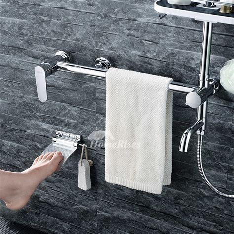 brass folding shower foot rest  slip shaving pedestal