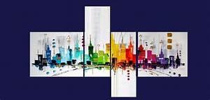 Tableau 5 Parties : tableau design quadriptyque city color ejrac ~ Teatrodelosmanantiales.com Idées de Décoration