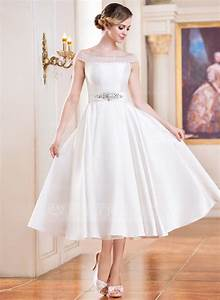 A line princess off the shoulder tea length satin wedding for Mid length dress for wedding
