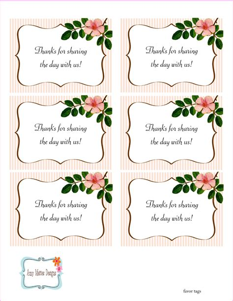 5 Best Images Of Free Printable Wedding Favor Tags