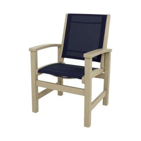 polywood sand navy blue sling coastal patio dining chair