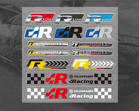 car decoration r line r racing styling car sticker and decal kit for vw golf 4 5 6 7 skoda