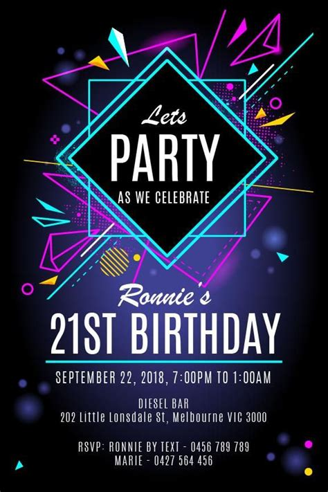 st birthday party invitation neon nightlife