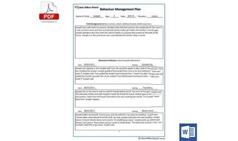 child behaviour management plan template aussie