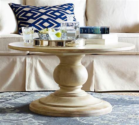 round pedestal coffee table dawson round pedestal coffee table pottery barn