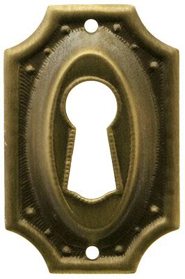 stamped brass colonial revival keyhole cover  antique  hand finish house  antique hardware