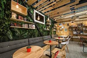bookstore café with a warm appealing interior
