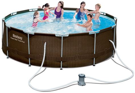 frame pool 366x100 בריכת שחייה bestway rattan power steel frame pools 366x100 כולל משאבה ומסנן בריכות עגולות