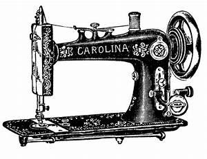 Vintage Clip Art - Antique Sewing Machine & Table - The ...