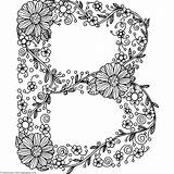 Coloring Letter Alphabet Letters Floral Adult Getcoloringpages Cool Flower Printable Sheets Books Doodle Letras Drawing Vorlagen Mano Instant Bubble Zszywka sketch template