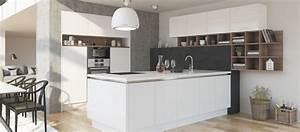 Cuisine contemporaine avec ilot cuisines cuisiniste aviva for Petite cuisine équipée avec meuble colonne salle a manger