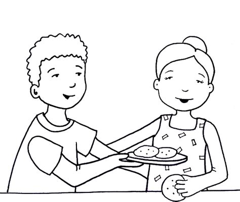 kids sharing food clipart black  white clipground