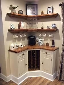 Built, In, Corner, Coffee, Wine, Bar