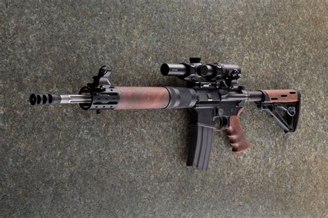 top ar  assault rifle wooden furniture ar  wood
