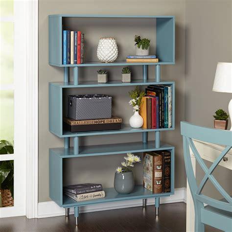 mid century modern wooden accent bookshelf  blue finish
