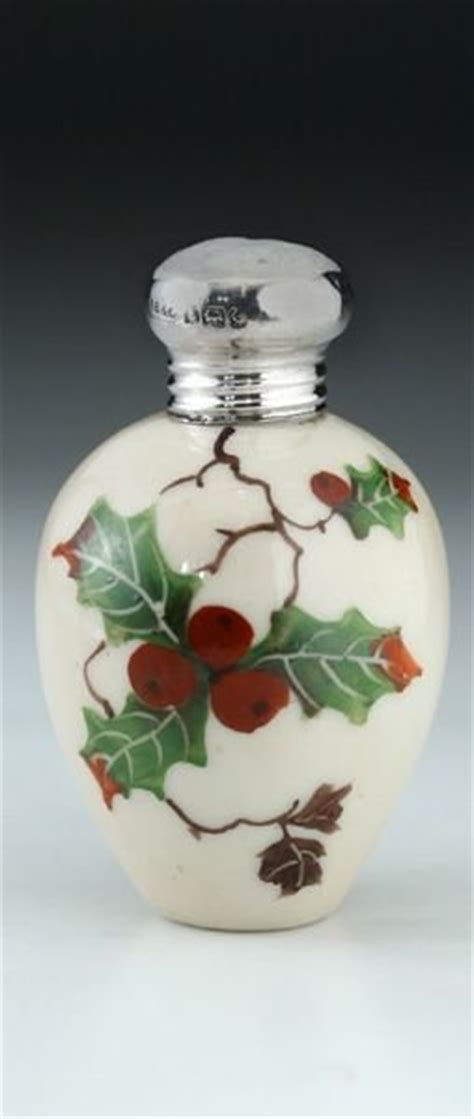 perfume bottle with holly 1907 porcelain scent perfume bottle with painted motif silver top 175583