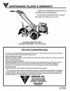 Earthquake Tillers  U0026 Warranty  Ardisam  Inc  One Year