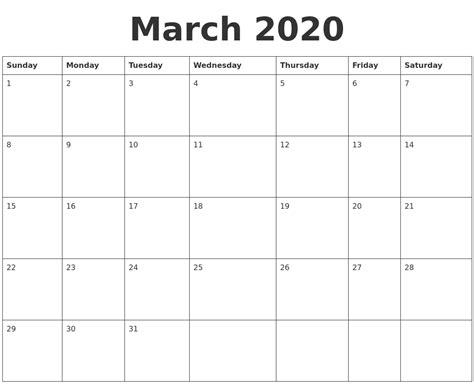 march  blank calendar template