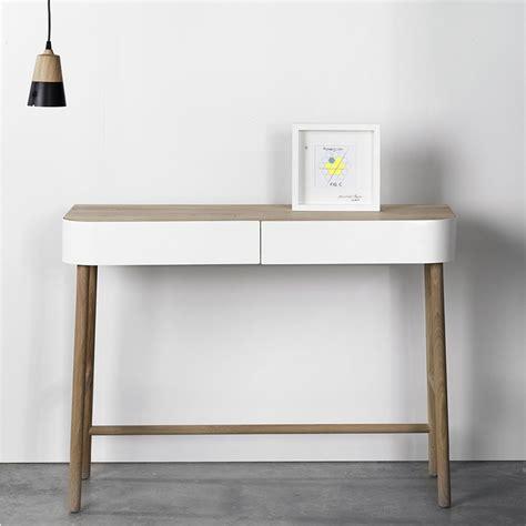 bureau console blanc console universo positivo en bois avec tiroirs en
