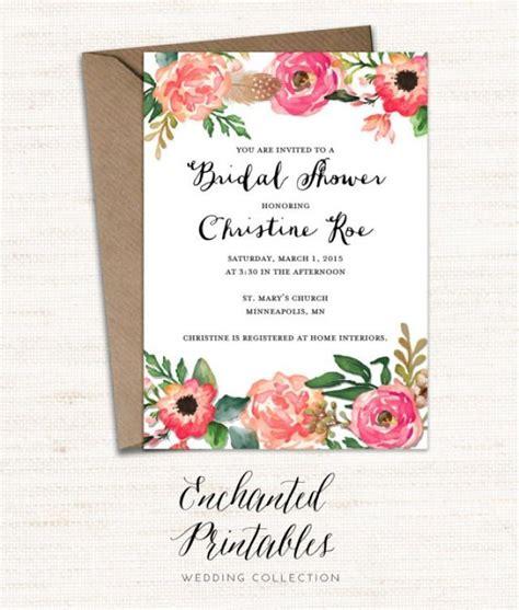 printable bridal shower invitation vintage floral printable bridal shower invitation printable rustic