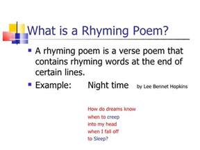 Rhythm and Rhyme Poem Examples