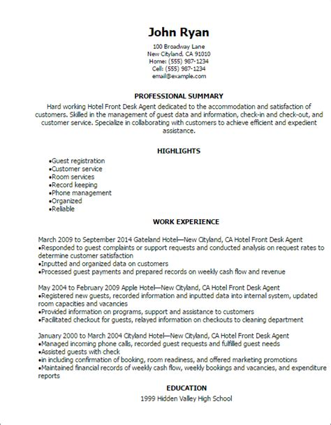 front desk resume objective professional hotel front desk agent resume templates to