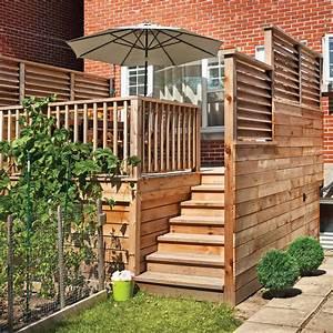 un palier bien protege patio inspirations jardinage With modele de terrasse en bois exterieur 4 ecran dintimite exterieur patio du nord