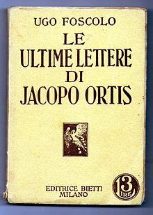 ultime lettere  jacopo ortis wikipedia