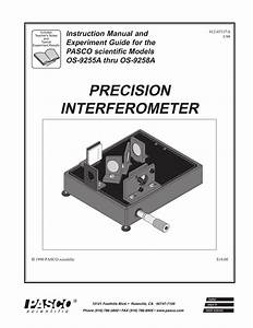 Precision Interferometer Instruction Manual And Experiment