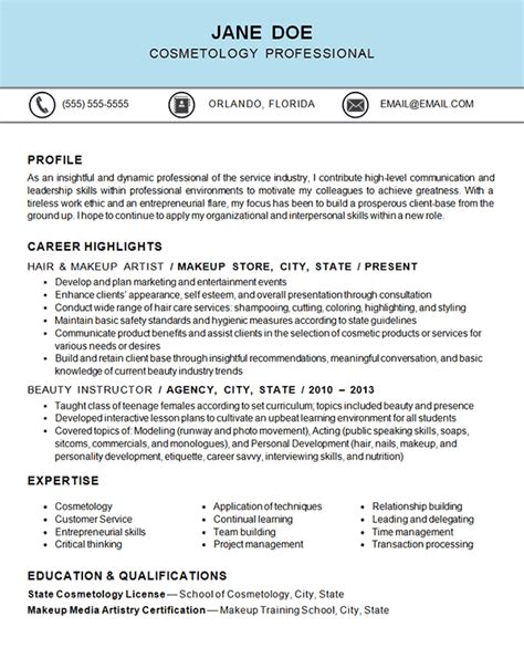 Cosmetologist Resume by Cosmetology Resume Exle Hair Makeup