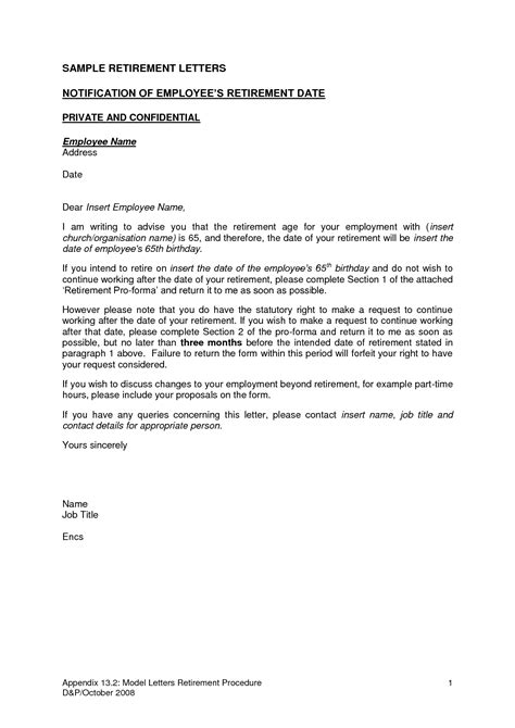 Retirement Letter From Employer To Employee Template by Retirement Letters To Employers The Letter Sle