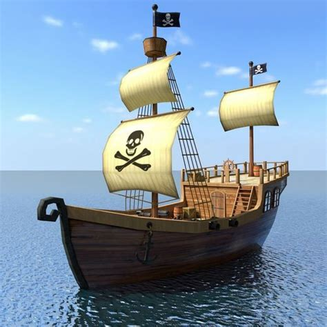 Cartoon Boat C4d by 3d Model Recreational Low Poly Cartoon Pirate Ship Textured