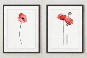 Set of 4 Abstract Flowers, Red Poppy Watercolor Painting