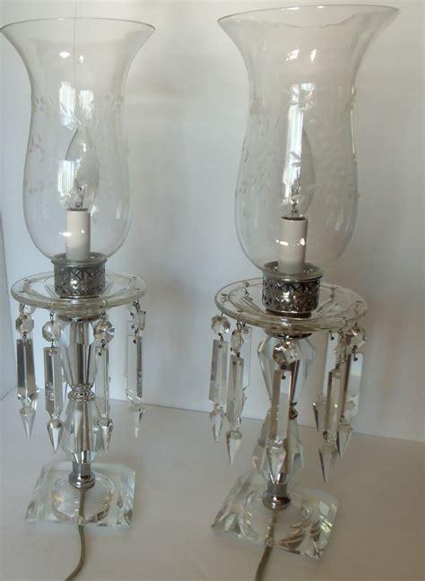beautiful vintage crystal hurricane lamps  hanging prisms