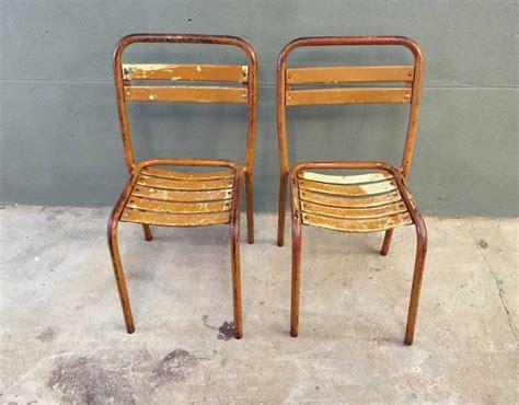 chaise tolix ancienne paire chaises bistrot métal style tolix
