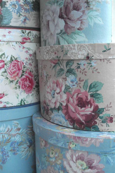pretty  vintage wallpaper hat boxes
