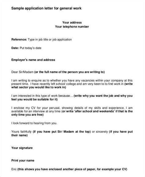 job application letter templates  employment