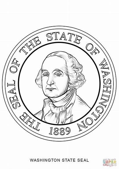 Washington State Seal Coloring Pages Drawing Printable