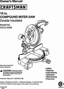 Craftsman 315212300 User Manual Compound Miter Saw Manuals