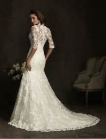 vintage lace wedding dress with 3 4 length sleeves sang maestro - Vintage Lace Wedding Dresses With Sleeves