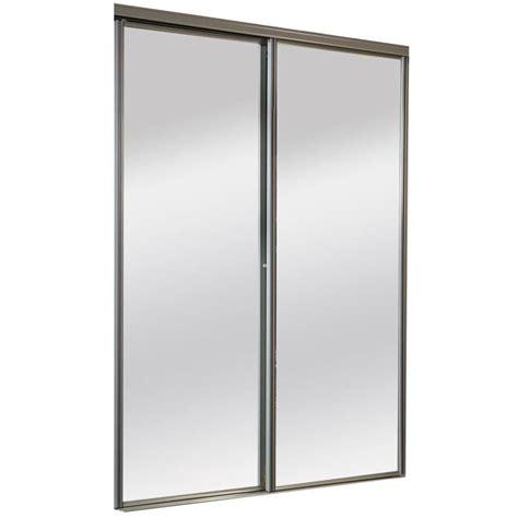 brushed nickel interior door shop reliabilt 9600 series clayton by pass door mirror