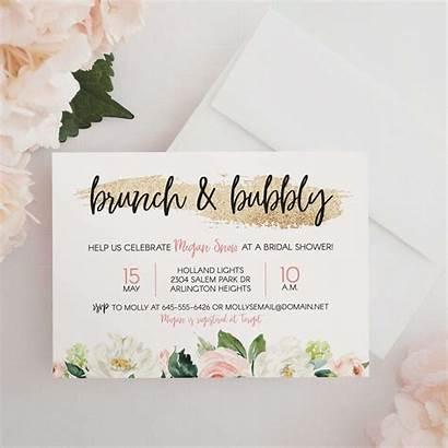 Shower Bridal Invitation Brunch Invitations Wording Bubbly