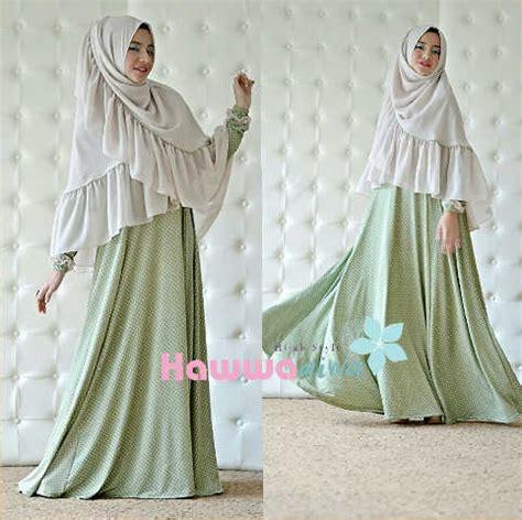 afia hijau khaki baju muslim gamis modern