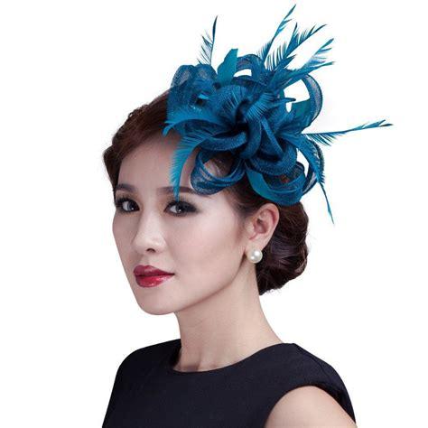 women teal loop sinamay hair fascinators  feathers