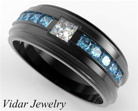 mens black gold white  blue diamond wedding band