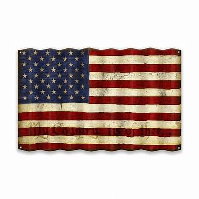 Metal Flag Corrugated American Sign British Corner