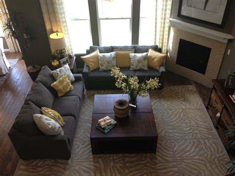 gray  yellow living room   home pinterest