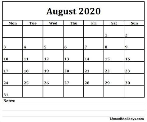 printable blank  month august  calendar australia