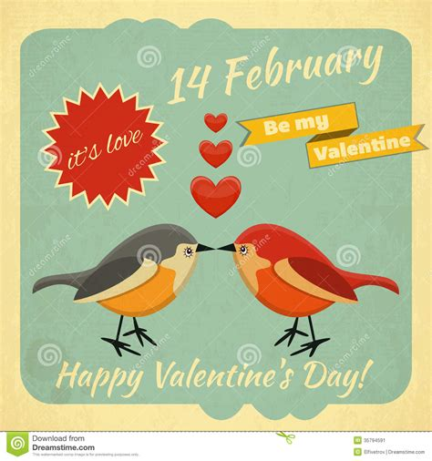 Vintage Valentines Day Card Stock Vector - Illustration of ...